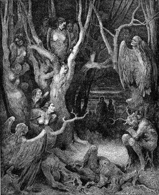 Harpies in the infernal wood, from Inferno XIII, by Gustave Doré, 1861