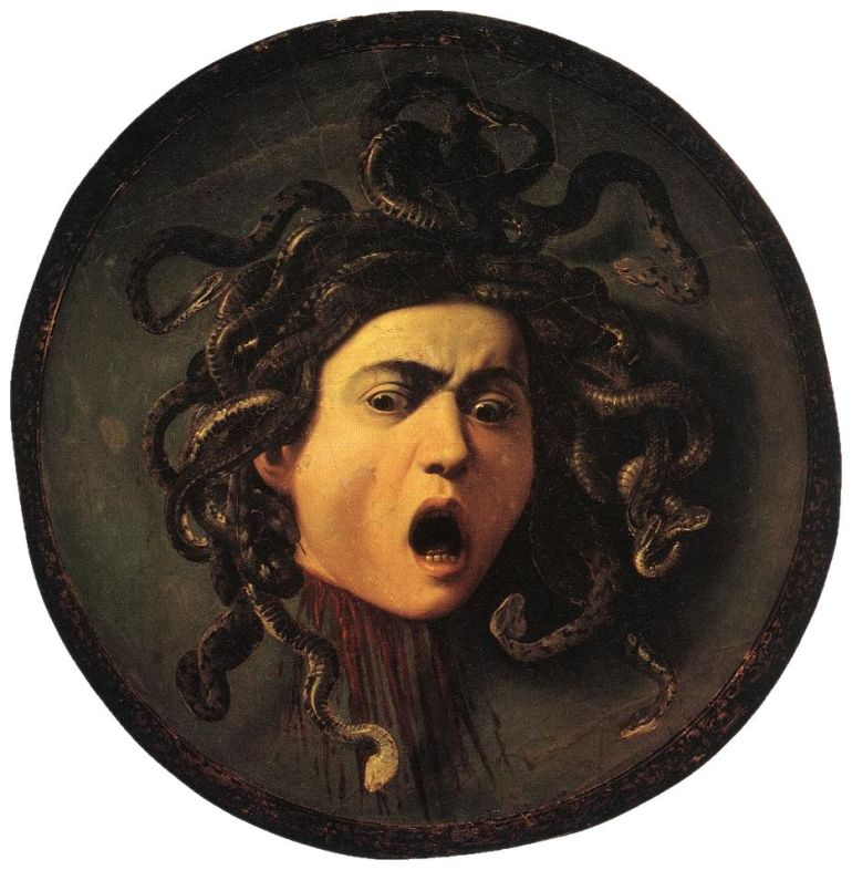 Medusa by Caravaggio. License: according to http://www.ibiblio.org/wm/about/license.html GNU-FDL or cc-by-sa-1.0 (here: PD-art)